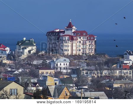 Nice view of big house on the hill by the black sea