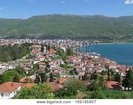 Stunning cityscape on the shores of Lake Ohrid in Republic of Macedonia poster