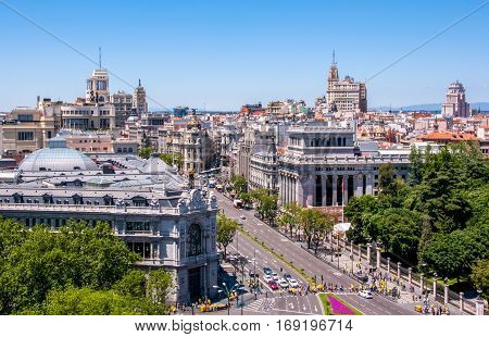 Panoramic views of Madrid from the lookout Cibeles Palace, Spain