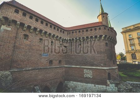 Krakow Barbican in city of Krakow Poland