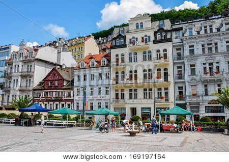 Karlovy Vary, Czech Republic - June 20, 2012 - House on the main street in the town of Karlovy Vary