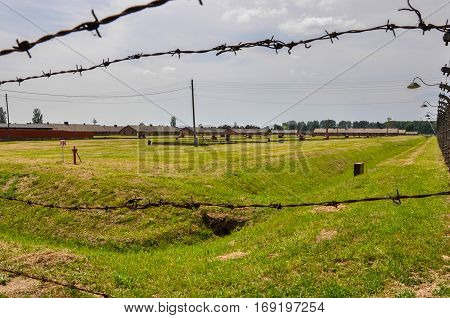 Fence in concentration camp Auschwitz in Poland