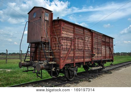 Wagon in the concentration camp Auschwitz, Poland