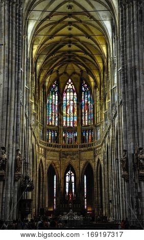 Prague, Czech Republic - June 18, 2012: Interior of St. Vitus Cathedral, the main cathedral in Prague