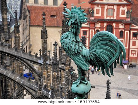 Statue of a rooster on the roof of the Cathedral of St. Vita, Prague, Czech Republic