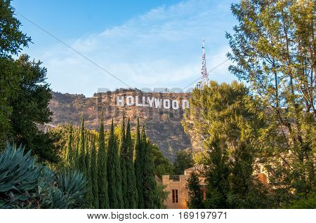 Los Angeles, California, USA - June 15, 2014: Famous landmark Hollywood Sign in Los Angeles, California.