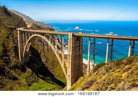 Bixby Bridge in Big Sur, Highway 1, California, USA