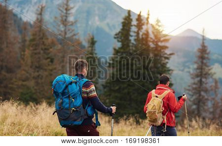 Rearview of two young men wearing backpacks and carrying trekking poles walking in a field while hiking in the wilderness
