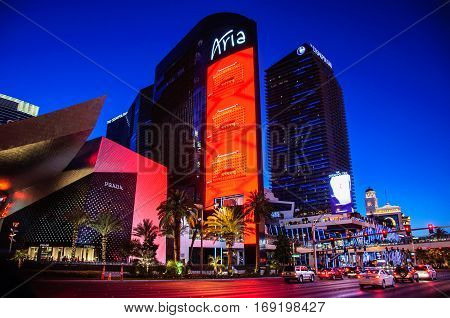 Las Vegas, Nevada, USA - June 27, 2014: Famous Aria Hotel in Las Vegas