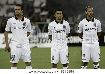 Rio Brazil - february 01 2017: Octavio Riveros Ramon Fernandez and Luis Figueroa Botafogo (BRA) vs Colo Colo (CHI) in the Copa Libertadores of America match at the Nilton Santos Stadium (Engenhao)
