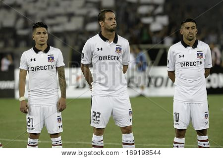 Rio Brazil - february 01 2017: Brayan Vejar Octavio Riveros and Ramon Fernandez Botafogo (BRA) vs Colo Colo (CHI) in the Copa Libertadores of America match at the Nilton Santos Stadium (Engenhao)