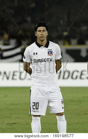 Rio Brazil - february 01 2017: Jaime Valdes Botafogo (BRA) vs Colo Colo (CHI) in the Copa Libertadores of America match at the Nilton Santos Stadium (Engenhao)