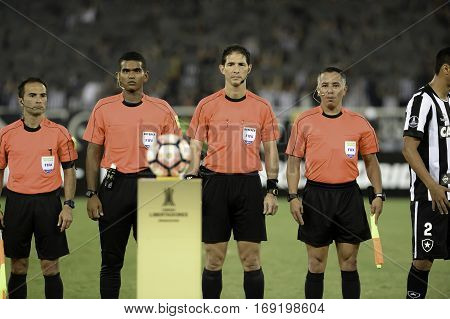 Rio Brazil - february 01 2017: Referee Juan Soto during Botafogo (BRA) vs Colo Colo (CHI) in the Copa Libertadores of America match at the Nilton Santos Stadium (Engenhao)