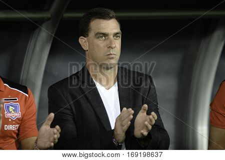 Rio Brazil - february 01 2017: Coach Pablo Guede during Botafogo (BRA) vs Colo Colo (CHI) in the Copa Libertadores of America match at the Nilton Santos Stadium (Engenhao)