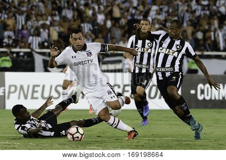 Rio Brazil - february 01 2017: Esteban Paredes and Jonas during Botafogo (BRA) vs Colo Colo (CHI) in the Copa Libertadores of America match at the Nilton Santos Stadium (Engenhao)