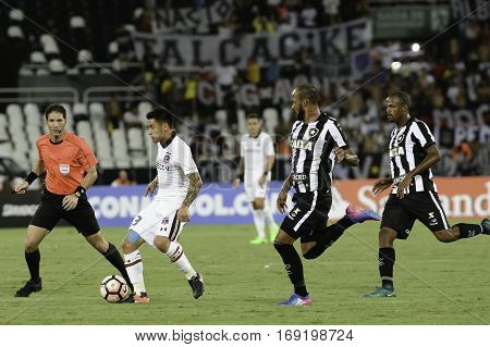 Rio Brazil - february 01 2017: Claudio Baeza during Botafogo (BRA) vs Colo Colo (CHI) in the Copa Libertadores of America match at the Nilton Santos Stadium (Engenhao)
