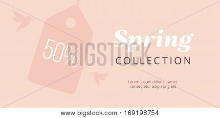 Spring big sale banner with tag and birds. Elegant pure poster. Vector blush backround