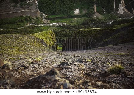Passage In The Rock High Mountains Of Kabardino Balkaria