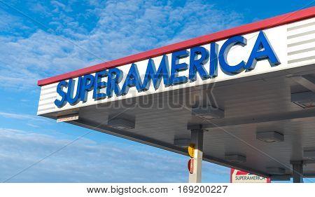 Superamerica Gas Station Exterior And Logo