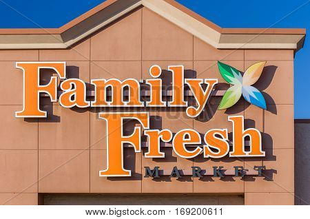 HUDSON WI/USA - FEBRUARY 5 2017: Family Fresh Market exterior and logo. Family Fresh Market is grocery store chain the United States.