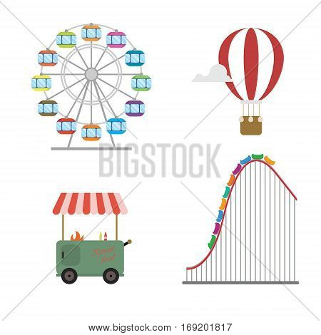 Amusement park concept. Roller coaster hot balloon wheel street food set isolated