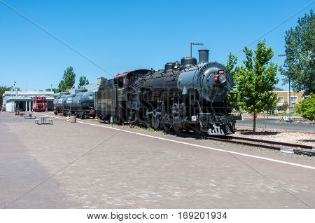 Williams, Arizona, USA - June 20, 2014: Vintage Steam Locomotive at the station in Williams Arizona. Grand Canyon Railway