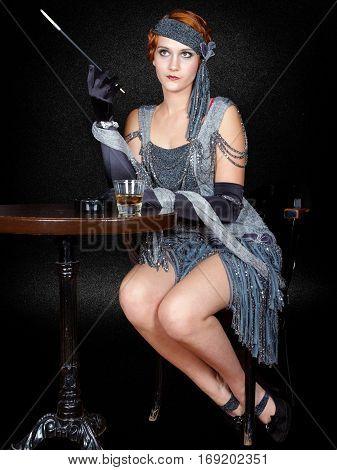 beautiful flapper girl from vintage twenties smoking in bar