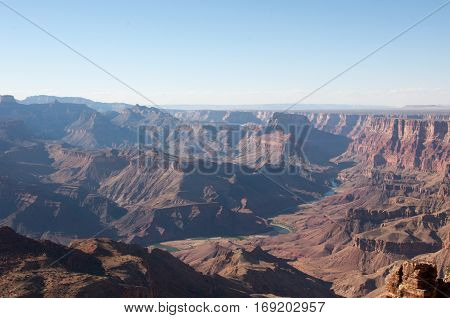 View of the winding Colorado River from the Desert View Watchtower, Grand Canyon National Park, Arizona USA