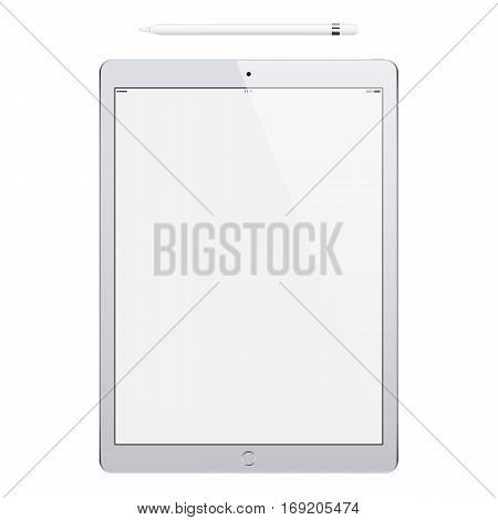 tablet grey color and pencil or stylus isolated on white background. stock vector illustration eps10