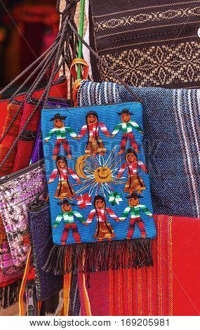 DOLORES HIDALGO, MEXICO - DECEMBER 29, 2014  Colorful Souvenir Mexican Peasant Blankets San Miguel de Allende Mexico