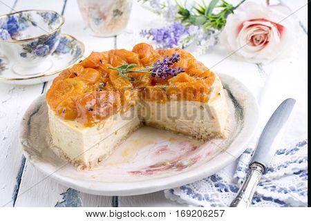 Peach Cheesecake on Plate