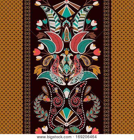 Striped seamless pattern. Floral wallpaper. Colorful ornamental border