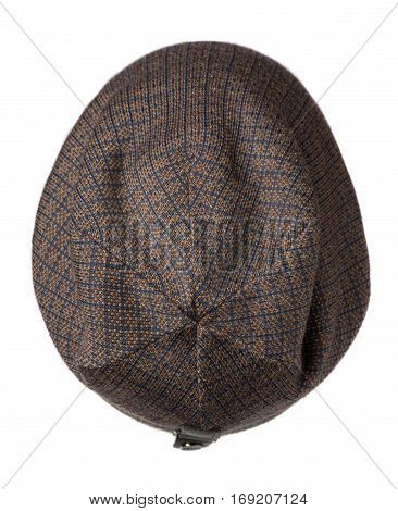 Hat Isolated On White Background .knitted Hat .brown Hat In Blue Cage