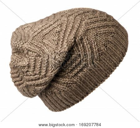 Women's Hat . Knitted Hat Isolated On White Background. Bown Hat