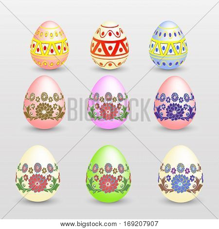 Easter eggs painted bright colors, vector illustration