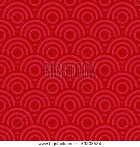 Red seamless pattern from circles. Chinese background