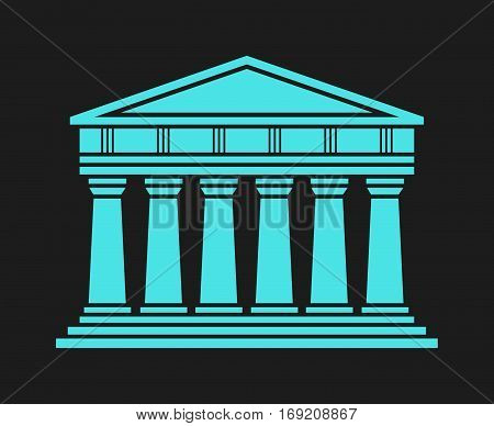 Architecture greek temple icon isolated on black background. Vector illustration flat architecture design