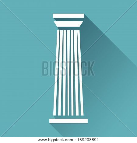 White column pillar icon isolated on blue background. Vector illustration for flat architecture design.