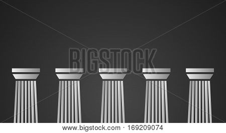 Architecture greek white marble pillars on black background. Vector illustration for flat architecture design.