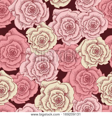 Vintage pink roses seamless pattern. Template for printing
