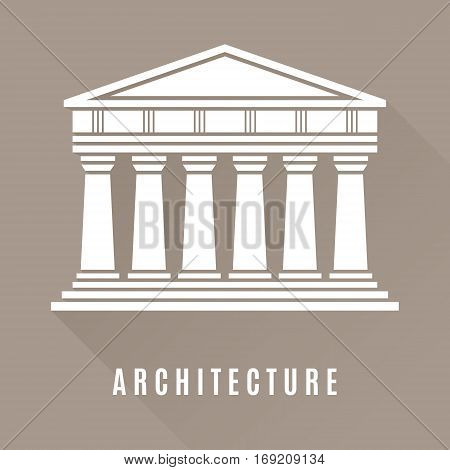 Architecture greek temple icon isolated on brown background. Vector illustration flat architecture design.