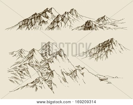 Mountains ranges set. A collection of nature design elements sketched