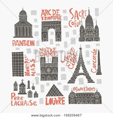Clipart collection with different Paris symbols made in vector.