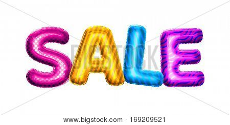 Balloon Sale color text letters. Realistic 3D isolated gold helium balloon golden font. Shopping discount decoration element colorful balloons design on white background