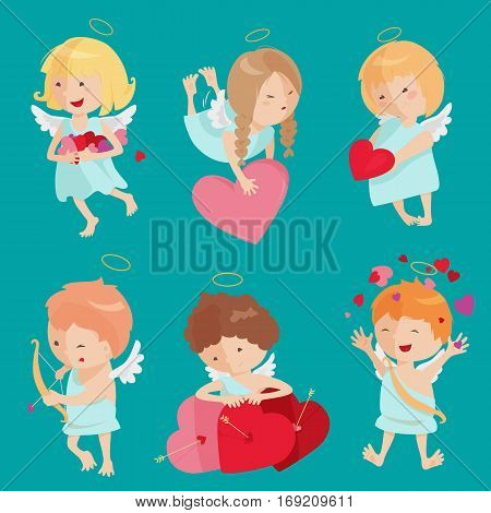 Cute angel isolated on white background. Vector illustration for cartoon holiday design. Set of children Happy valentine day cupid. Romantic couple icons. Red heart, arrow, bow, halo