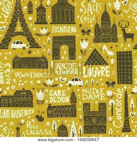 Unique seamless pattern with symbols of Paris.