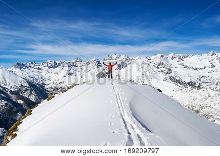 Over the top of the world Ski touring in italian Alps, Gran Paradiso National Park. Italy