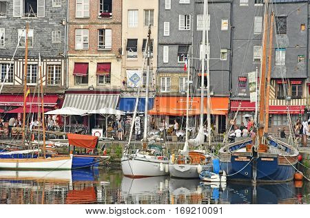 Honfleur France - august 18 2016 : the old port in summer