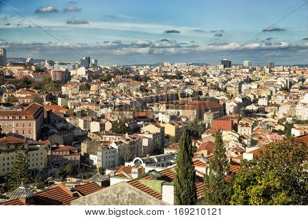 View of red roof of Lisboa from St-George's Castle in Portugal