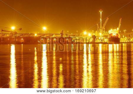 Port of San Diego terminals at night, California